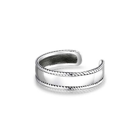 Braided Edge Bali Style Midi Toe Ring For Women For Teen Plain Wide Band 925 Silver Sterling Adjustable Mid Finger - image 2 de 4