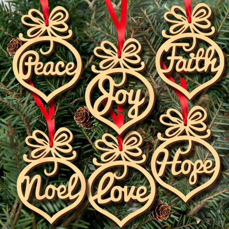 Binmer® 6Pcs Christmas Decorations Wooden Ornament Xmas Tree Hanging Tags Pendant Decor ()