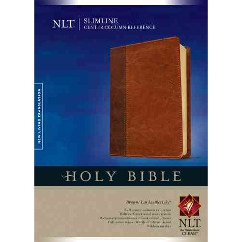 Holy Bible: New Living Translation, Brown/ Tan, TuTone, Leatherlike, Slimline Center Column Reference Edition