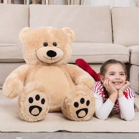 First Christmas Teddy Bear (WOWMAX 3 Foot Giant Teddy Bear Daney Cuddly Stuffed Plush Animals Teddy Bear Toy Doll for Birthday Christmas Brown 36 Inches)
