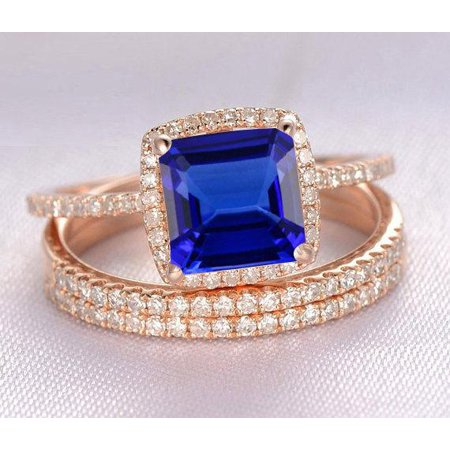 2 carat Blue Sapphire and diamond Halo trio wedding ring Bridal Set in 10k Rose Gold: On Limited Time Sale Under Dollar (Best Dishwasher Under 800 Dollars)