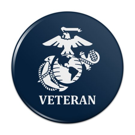 "Veteran USMC Marine Corps White on Blue Officially Licensed Pinback Button Pin Badge - 1"" Diameter"
