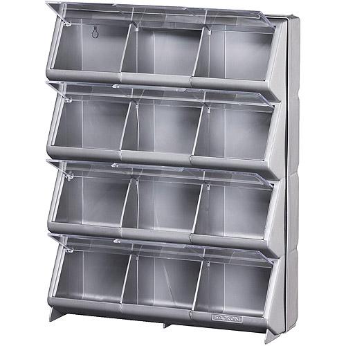 Stack-On 12-Bin Metallic Silver Clear View