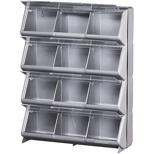 Stack-On 12-Bin Metallic Silver Clear View