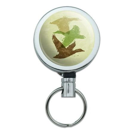Flying Duck Design - Ducks Flying Design Hunting Hunter Camo Retractable Belt Clip Badge Key Holder