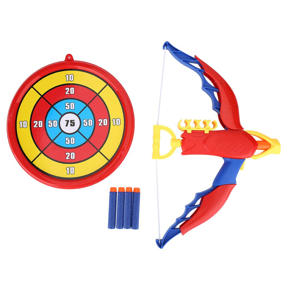 Kids Bow and Arrow Toy Set,Children Toy Archery Shooting with Score Target and 4 Pcs Soft Bullets Darts For Outdoor Garden Fun Game