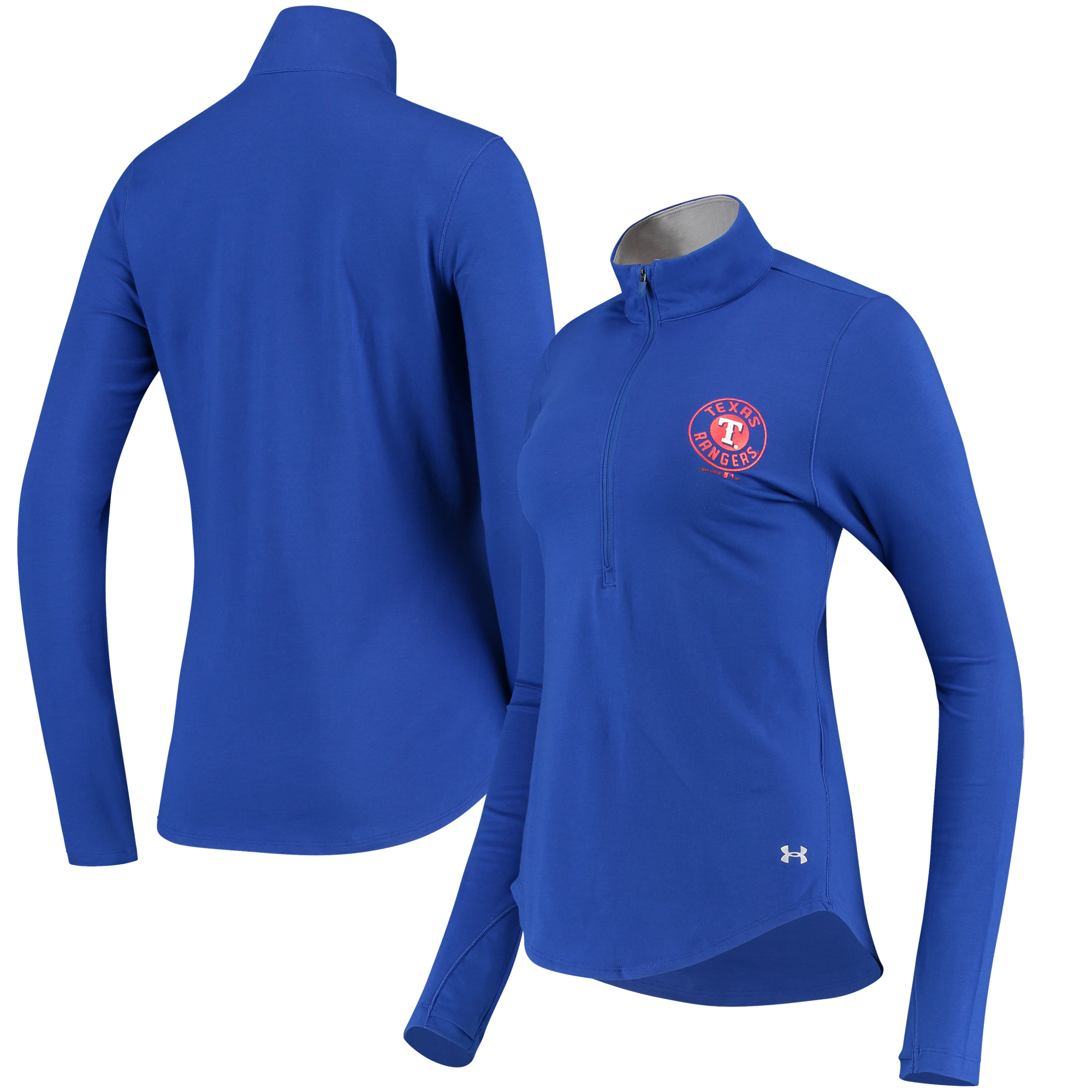 Texas Rangers Under Armour Women's Charged Cotton Half-Zip Pullover Jacket - Royal