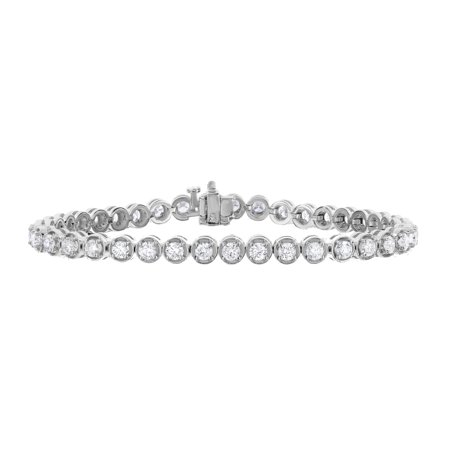 4 cttw Certified Classic Tennis Diamond Bracelet 14K White Gold SI1-SI2 Clarity I-J Color