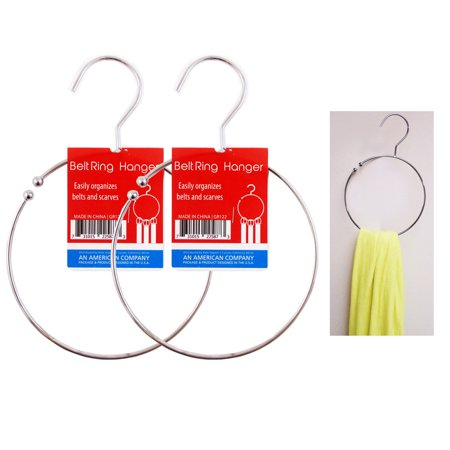 2 Ring Hanger Hole Design Scarf Belt Tie Closet Organizer Holder Hook Towel Hang ()