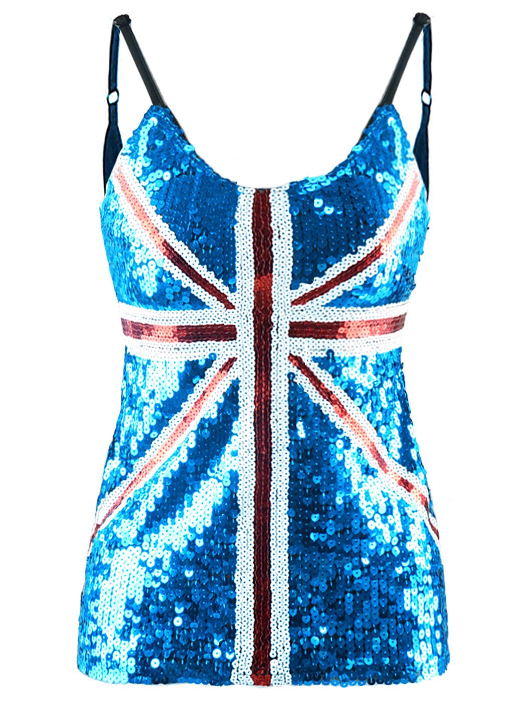 Anna-Kaci Union Jack British Flag Fashion People United Kingdom Flag Women Sequin Slim Adjustable Spaghetti Strap Tank Top Clothes