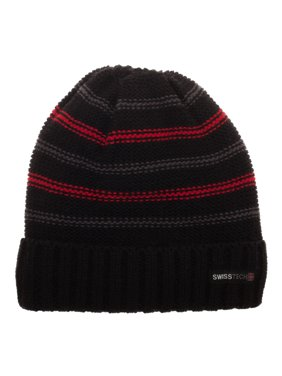 bae5c3636dd37 Product Image Swiss Tech Youth Black Striped Cuffed Beanie with Thinsulate  M-80 Lining for Added Warmth