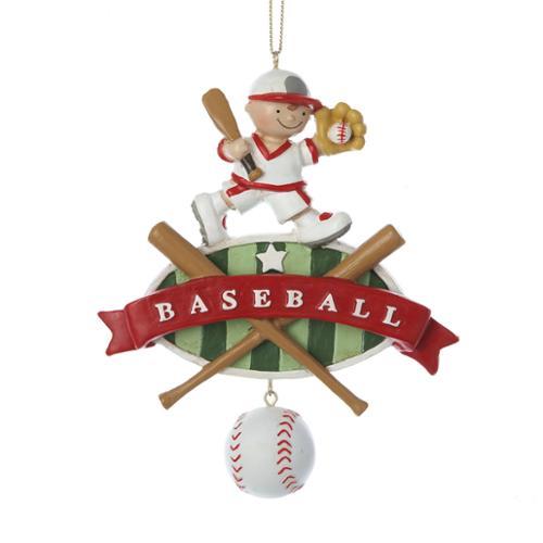 "Pack of 12 ""Baseball"" Kid with Bats and Ball Dangle Christmas Ornaments 4.75"""