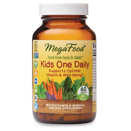 MegaFood, Kids One Daily, Daily Multivitamin and Mineral Dietary Supplement with Vitamins, C, D and Folate, Non-GMO, Vegetarian, 60 tablets (60 servings) One Daily 60 Tablets