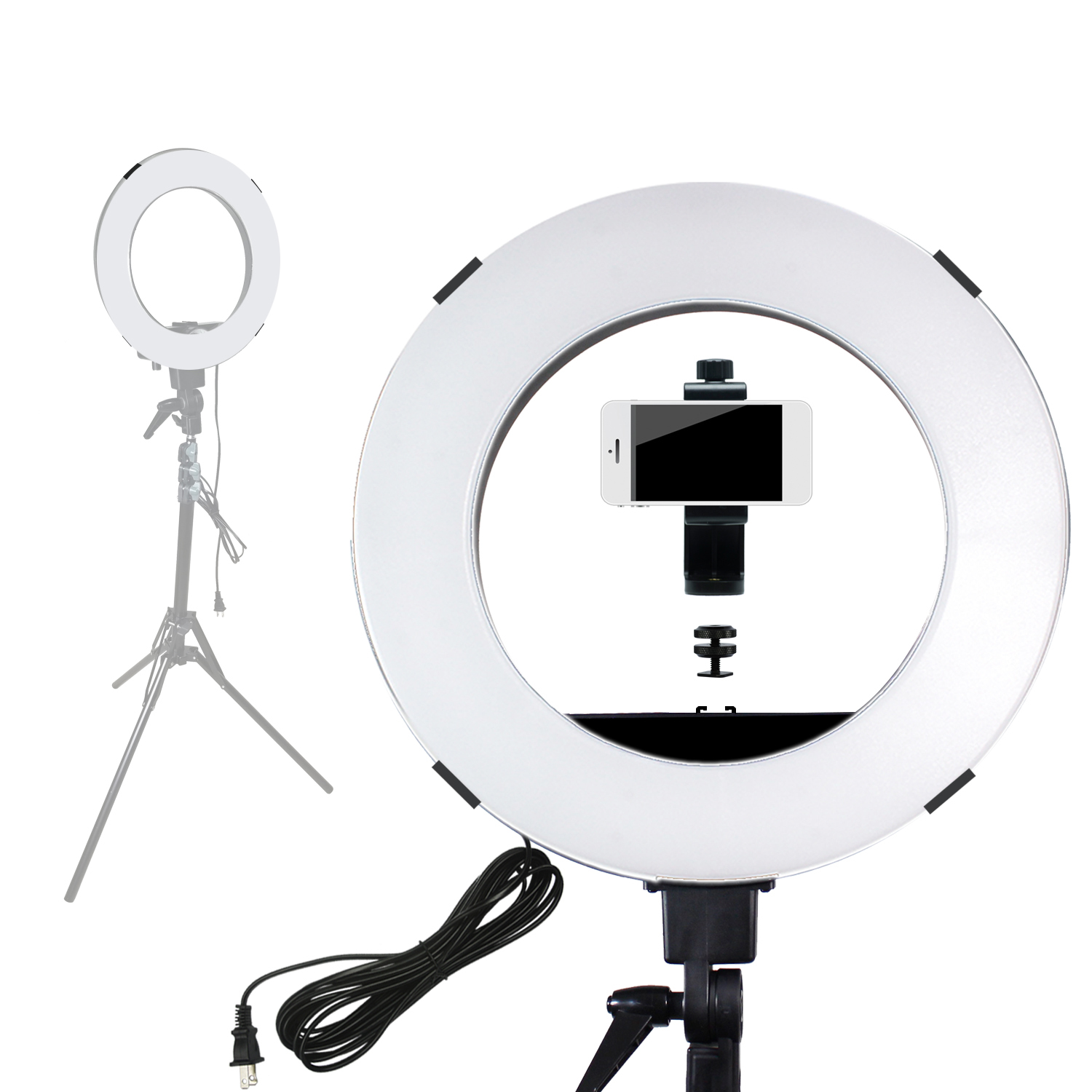 "Loadstone Studio 12"" Dimmable Fluorescent Round Ring Light, Continuous Lighting Kit for Beauty Facial Shoot, Light Stand Tripod, Cell Phone Spring Clip Holder, Photo Studio, WMLS4547"