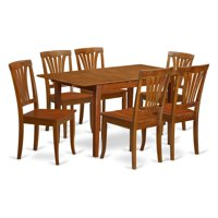 East West Furniture Picasso 7 Piece Lath Back Dining Table Set