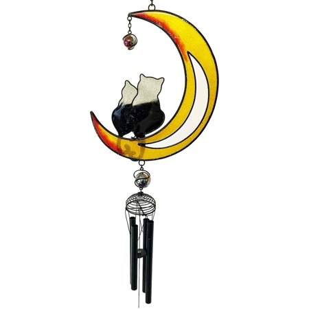 Cat Lovers On Crescent Moon Glass Gem Resonant Black Coated Copper Wind Chime Garden, This wind chime is approximately 26