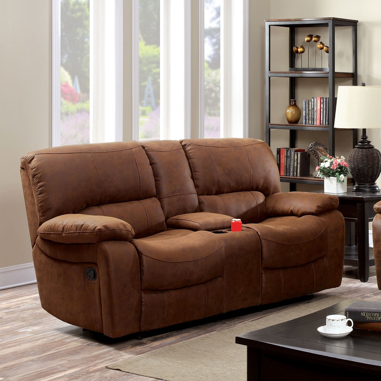 Furniture of America  Cameltone Brown Bonded Leather Reclining Loveseat with Console