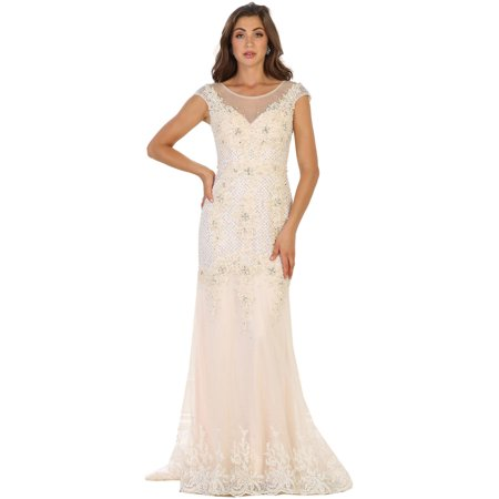 SIMPLE CAP SLEEVE BRIDAL EVENING GOWN & PLUS - White Cap And Gown