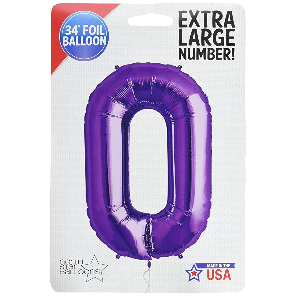 "northstar 00144 number 0 foil mylar balloon, 34"", purple"