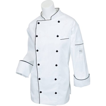 Mercer Flare (Mercer Renaissance Cutlery Women's Chef Coat (Trad. Neck) - White w/ Black Piping, Large )