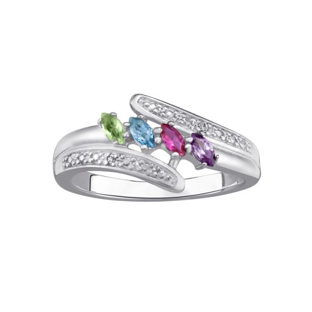 Family Jewelry Personalized Mother's Sterling Silver or 18K Gold over Silver Marquise Birthstone & Diamond Accent