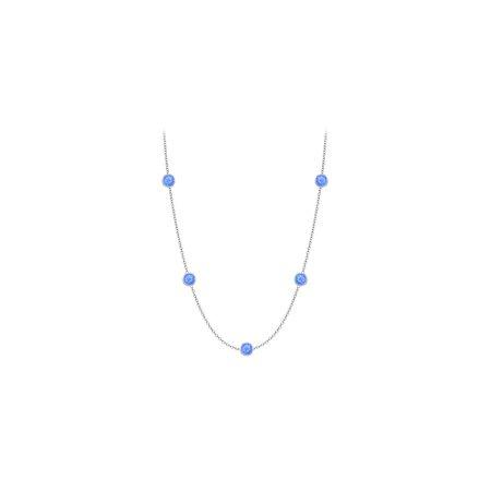 Blue Created Sapphires Necklace on 14K White Gold Bezel Set 10.00 ct.tw - image 2 de 2