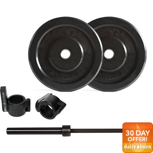 CAP Barbell 95lb Bumper Plate Set with 7' Power Bar and Muscle Clamps
