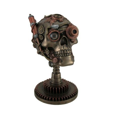 Bronze / Copper Finished Steampunk Skull Statue - Gear Base