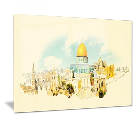 Jerusalem Metal (DESIGN ART Designart 'Jerusalem Panoramic View' Cityscape Watercolor Metal Wall)