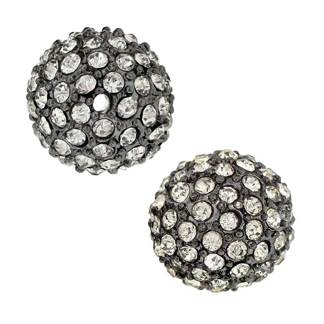 Beadelle Crystal 12mm Round Pave Bead - Gunmetal Plated / Crystal (1 Piece)