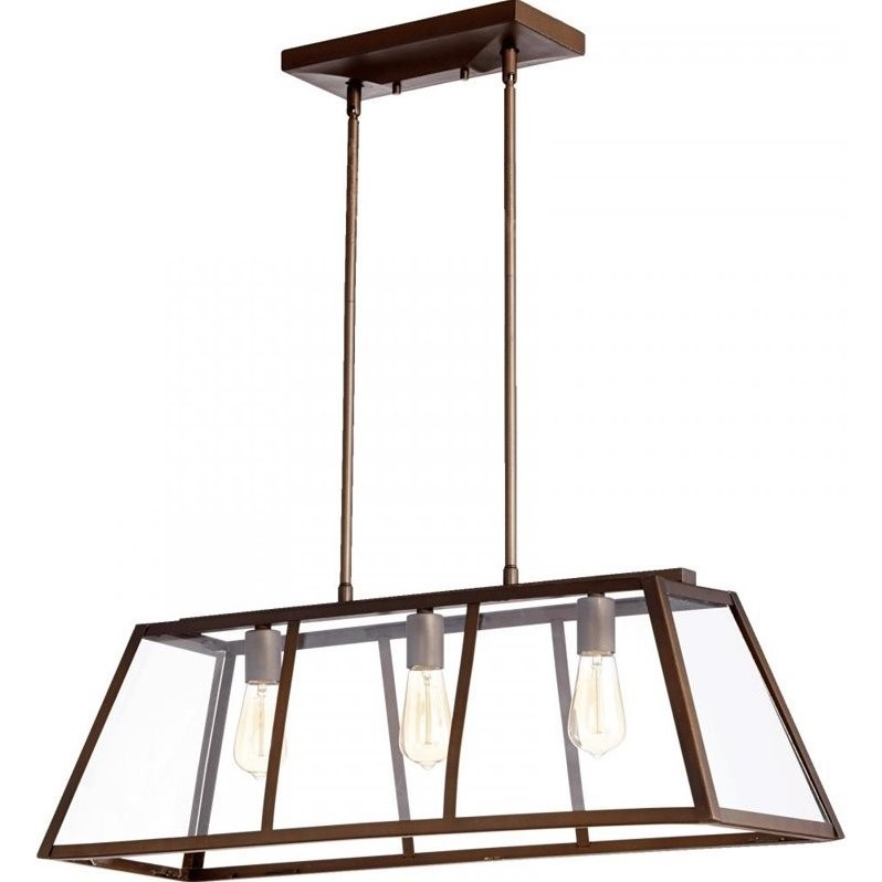 Quorum Kaufmann 3 Light Island Light in Oiled Bronze