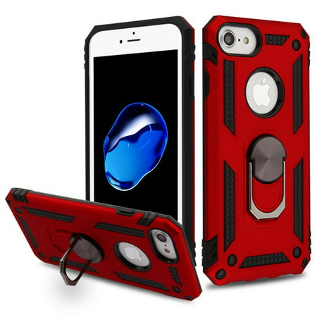 Apple iPhone 8, iPhone 7, iPhone 6/6s Phone Case Hybrid Durable 360 Degree Rotatable Ring Stand Holder Kickstand Fit Magnetic Car Mount Protective Case RED Cover for Apple iPhone 8 /7 / 6