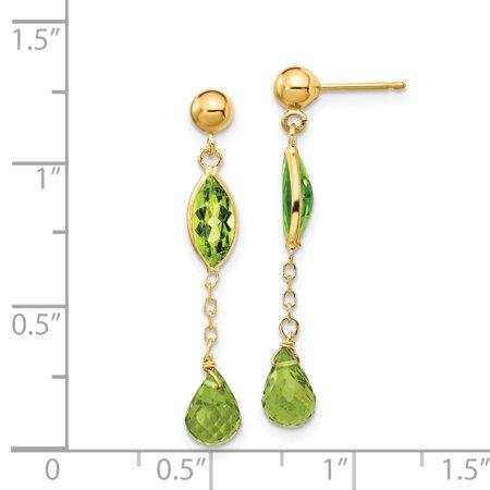 14K Yellow Gold Peridot Post Earrings - image 1 de 2