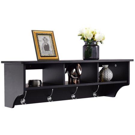 costway wall mount coat rack storage shelf cubby organizer hooks entryway hallway black. Black Bedroom Furniture Sets. Home Design Ideas