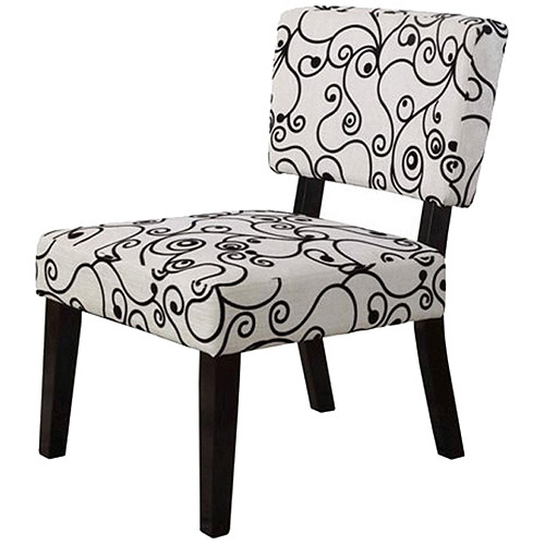 Linon Taylor Accent Chair, Black and White Circles, 17.5 inch Seat Height