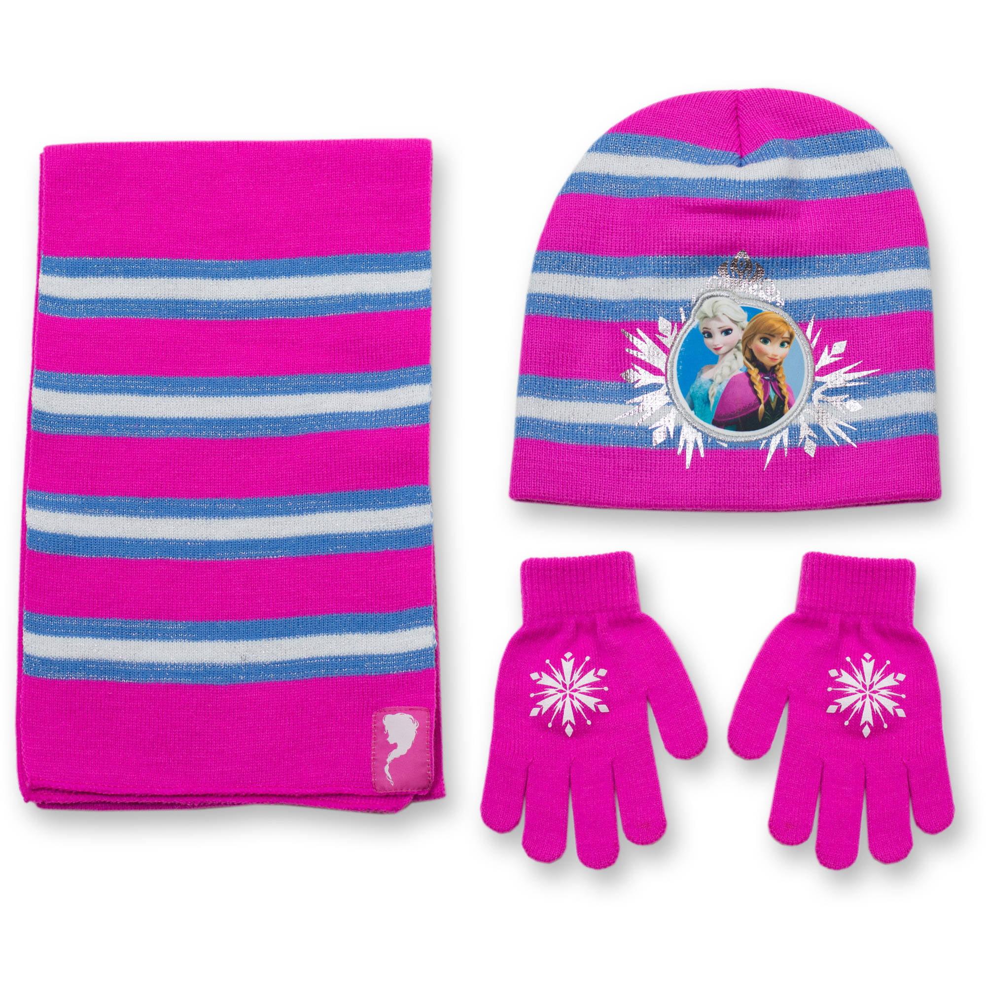 Disney Frozen Girls\' Hat,Glove and Scarf 3 Piece Set - Walmart.com
