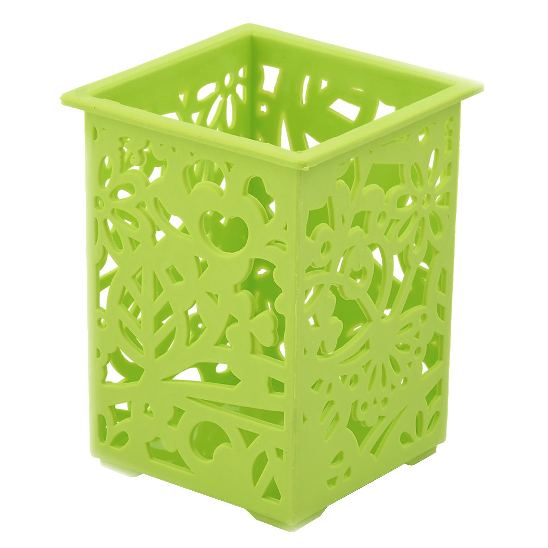 Office Desk Plastic Hollow Out Pen Sundries Stationery Storage Box Holder Green