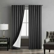 Urban Shop Solid Texture Room Darkening Rod Pocket Curtain Panel, Set of 2