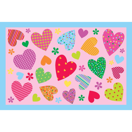 Fun Rugs Fun Time Hearts-Pink Kids Rug