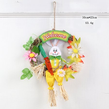 Cartoon Rabbit Wreath Hanging Ornaments for Easter Party Door Wall Decor Color:Yellow ()