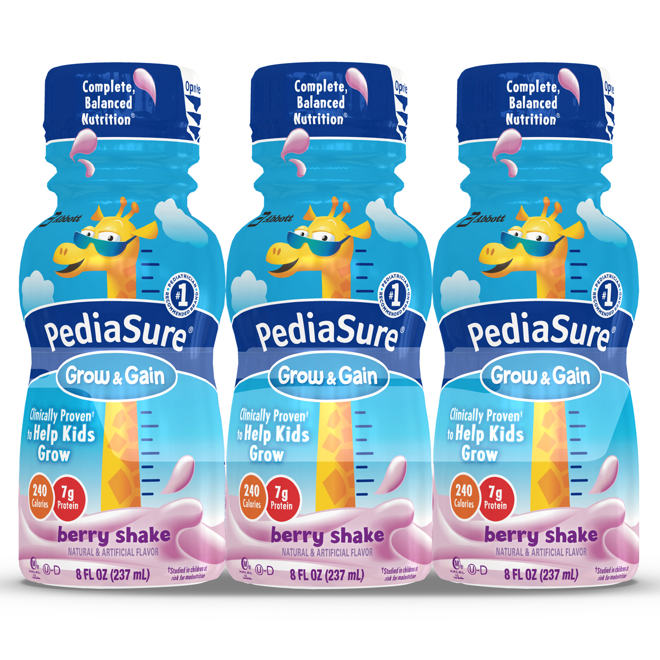 PediaSure Grow & Gain Nutrition Shake For Kids, Berry, 8 fl oz (Pack of 6)