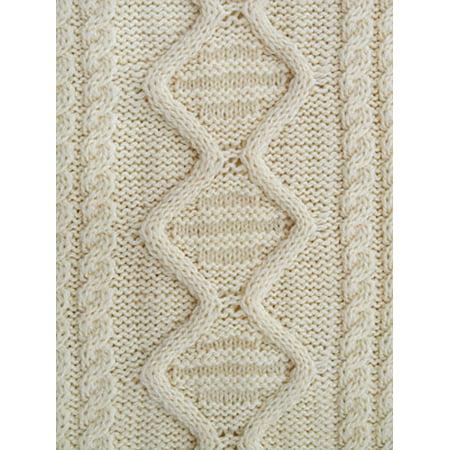 Irish Merino Wool Aran Knit Zip Sweater With pockets - Merino Wool Fiber