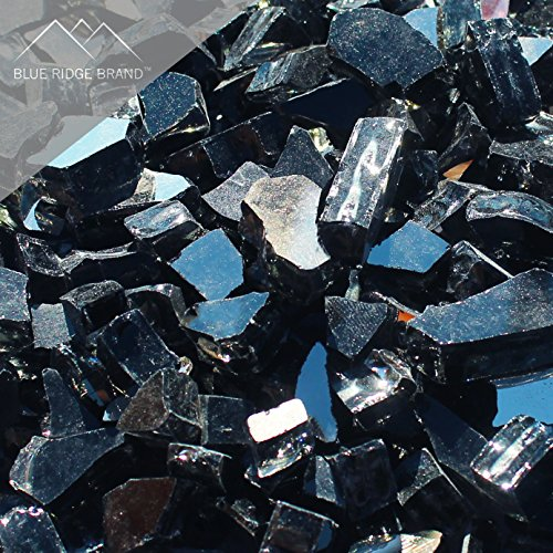 """Fire Pit Glass - Black Reflective Fire Glass 1/2"""" - Reflective Fire Pit Glass Rocks - Blue Ridge Brand™ Reflective Glass for Fireplace and Landscaping 3, 5, 10, 20, 50 Pounds"""