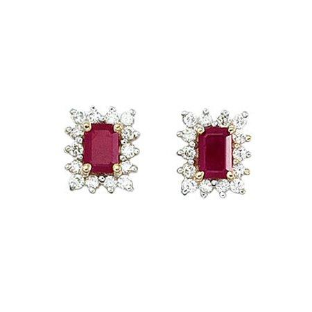 14k Yellow Gold Diamond and Octagonal Ruby Earring 14k Ruby Diamond Earring