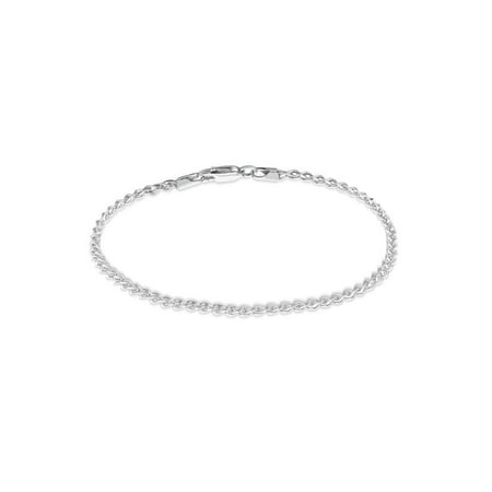 (Sterling Silver Diamond Cut Wheat Chain Bracelet 7.5 inches)