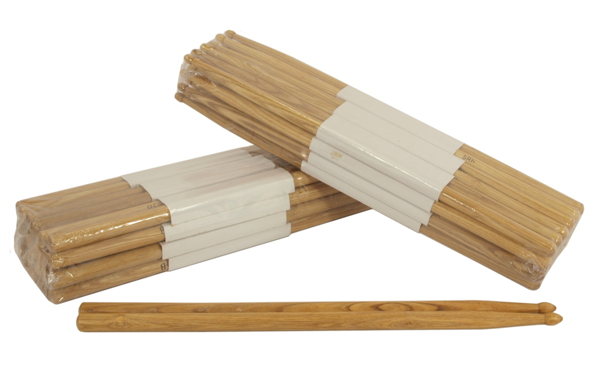 12 Pairs 5A Wood Tip Natural Oak Drumsticks Pro 24 Drum Sticks by