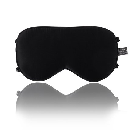 Natural Mulberry Silk Sleep Mask with Adjustable Strap Eye Mask Black-2 Straps Anti Stress Silk Eye Pillow