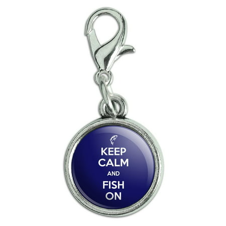 Keep Calm And Fish On Bass Fishing Antiqued Bracelet Pendant Zipper Pull Charm with Lobster
