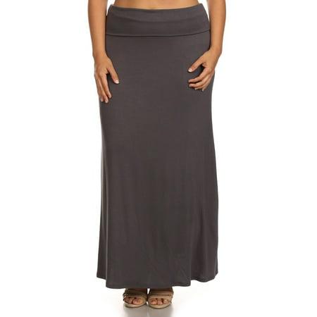 66ea26eb3 Moa Collection - Plus Size Women's Trendy Style Solid Maxi Skirt -  Walmart.com