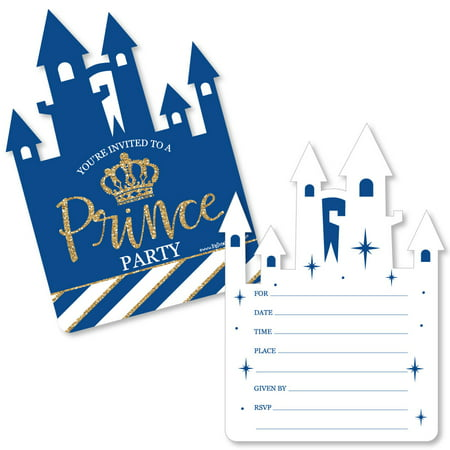 Royal Prince Charming - Shaped Fill-In Invitations - Baby Shower or Birthday Party Invitation Cards with Envelopes-12 Ct - Toddler Halloween Birthday Party Invitations